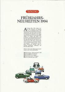 Infoblatt Wiking Neuheiten Frühjahr 1994 Modellautos Maßstab 1:87 - Recklinghausen, Deutschland - Infoblatt Wiking Neuheiten Frühjahr 1994 Modellautos Maßstab 1:87 - Recklinghausen, Deutschland