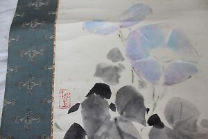 VECCHIO-DIPINTO-A-MANO-SCROLL-CON-RAFFINATI-FIORI-BLU-CAMPANELLE-FOGLIE-FLOWERS