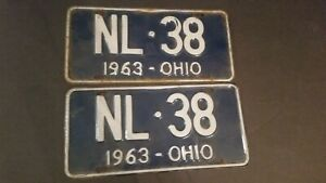 Vintage-1963-Ohio-License-Plate-Pair-Blue-and-White-NL38