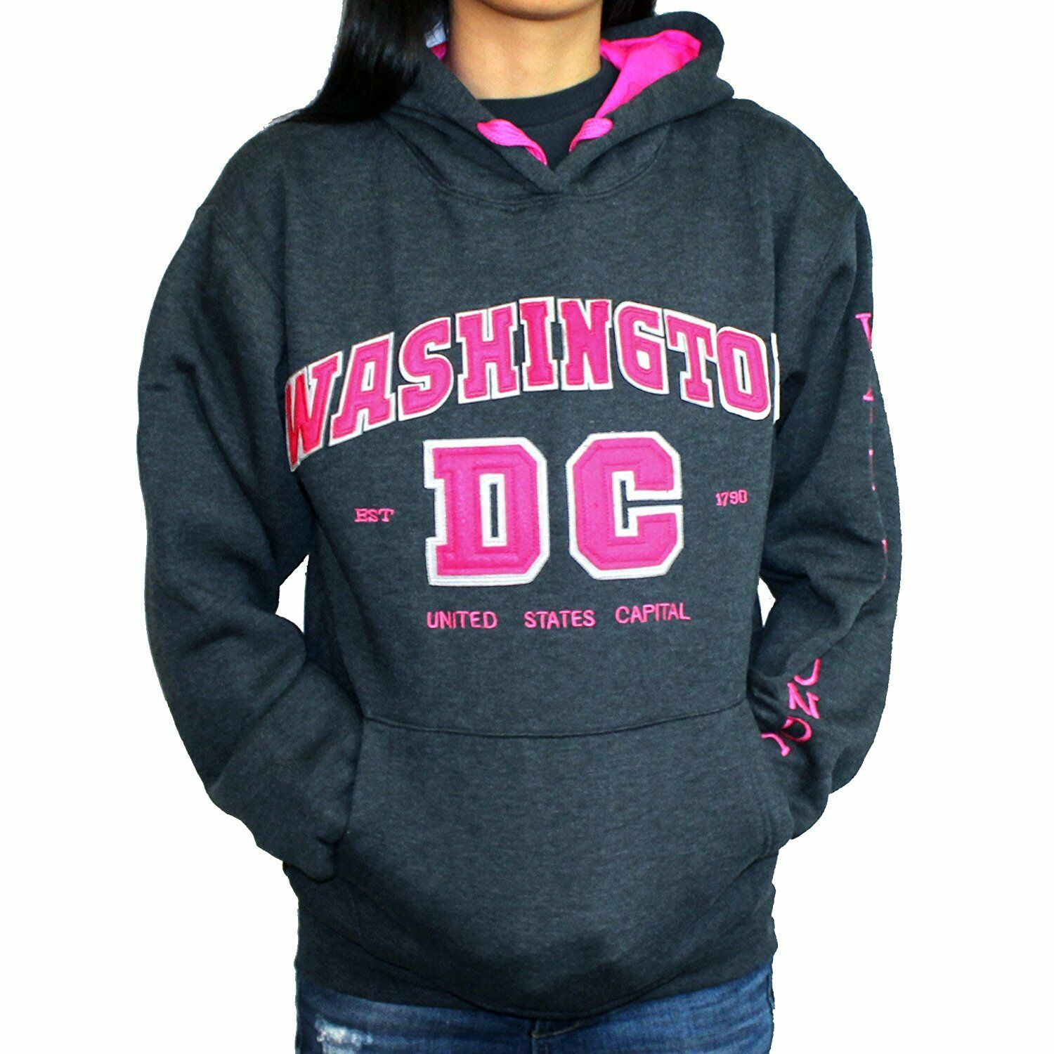 Washington DC Charcoal-Pink Woman Hoodie Sweatshirt Embroidered letters