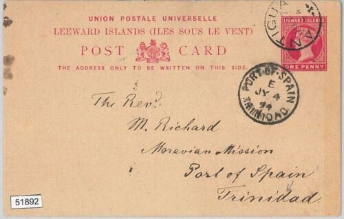 51892 Leeward Islands POSTAL HISTORY STATIONERY CARD to TRINIDAD 1891