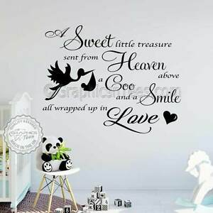 Baby Boys Girls Nursery Bedroom Wall Stickers Quote Decor Decal With
