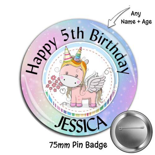 75 mm Personnalisé 3rd 4th 5th 18th 21st 30th Licorne anniversaire pin badge N12