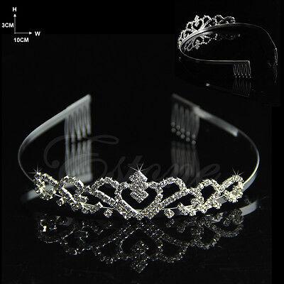 Bridal Comb Tiara Rhinestone Crystal Crown Pageant Princess Headband Hair Silver