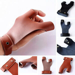 Leather Archery Thumb Protector Guard Finger Tab Target Hunting Brown 2cm