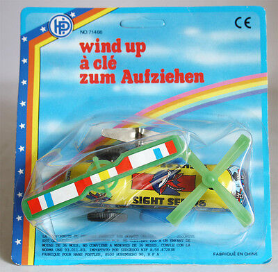 Vintage Tin Litho made in China wind up Helicopter