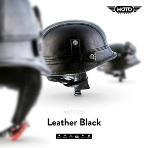 MOTO D33 LEATHER BLACK Jet-HELMET VESPA SCOOTER CHOPPER Motorcycle S M L XL XXL