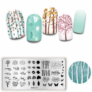 Harunouta-Rectangle-Nagel-Stamping-Schablone-Flowers-Nail-Stempel-Schablone-L071