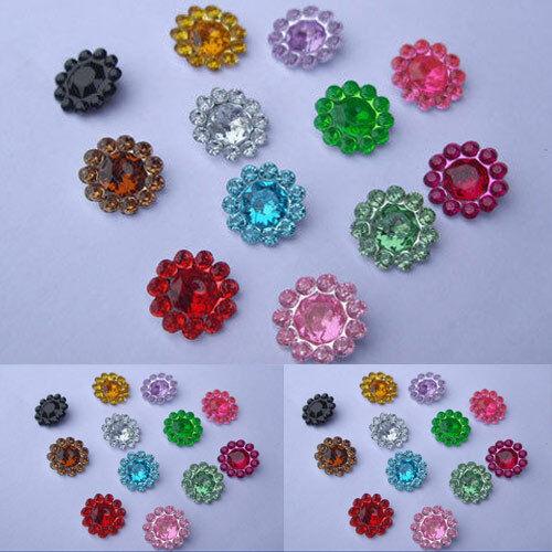 80 X 11mm mezclado de color de flor Diamante Piedras Gemas Scrapbooking