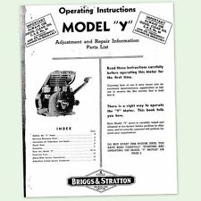 Briggs And Stratton Model Y Engine Operating Repair Manual Service Owners Bs Ampamp