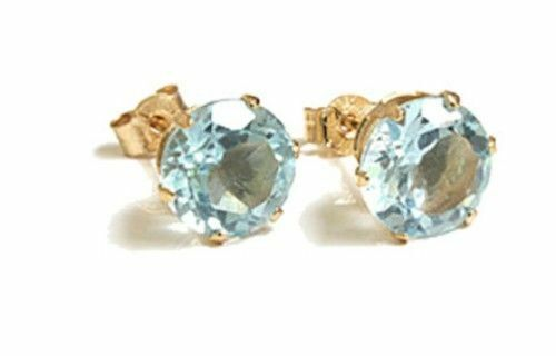 6mm 9ct Yellow Gold Topaz Round Stud earrings Gift Boxed