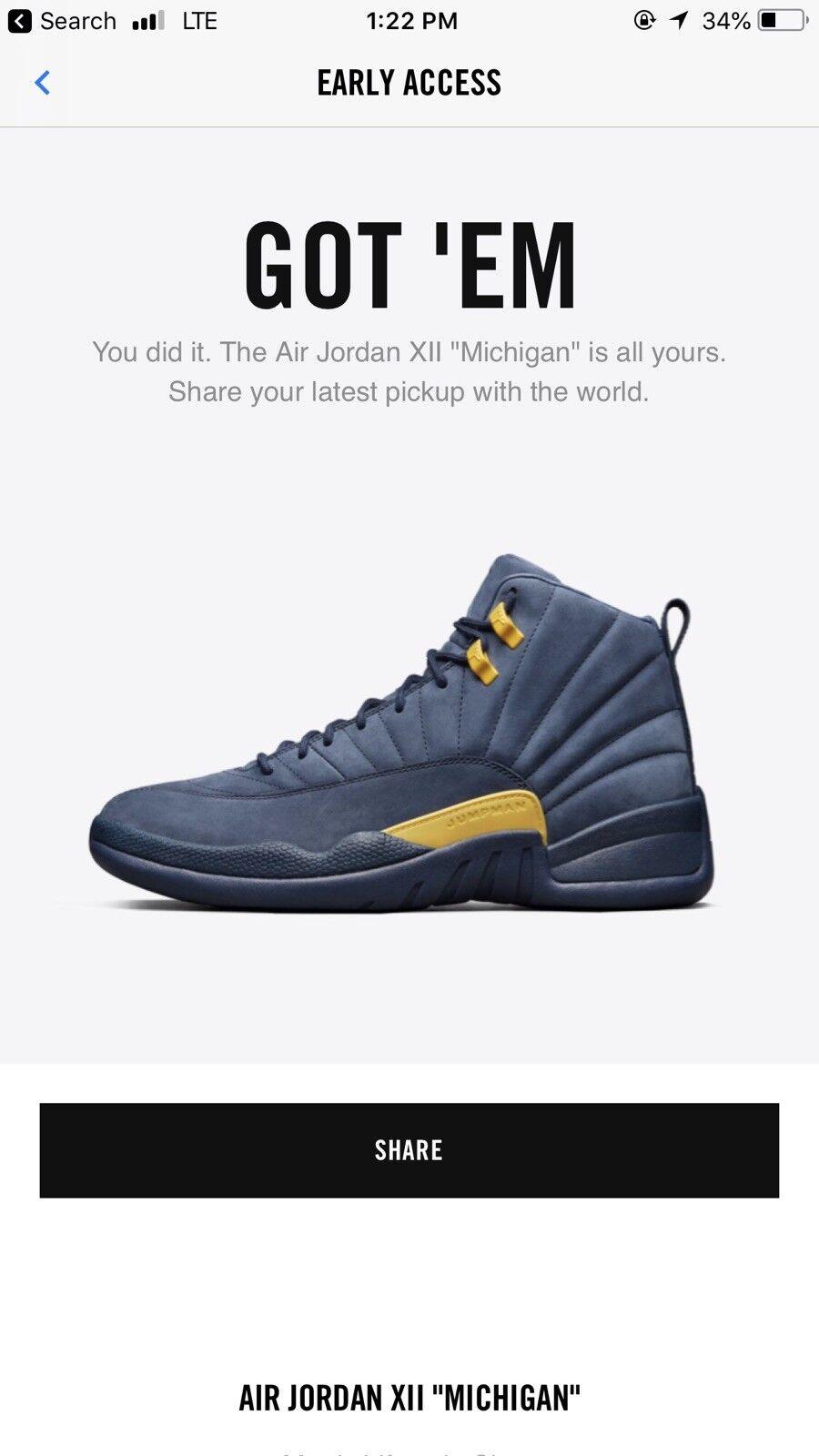 Air Jordan 12 Michigan Players edition Mens Size 11