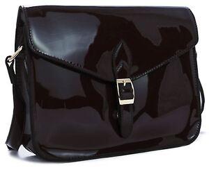 Womens-Plain-Patent-Shiny-Faux-Leather-Small-Clutch-Shoulder-Wedding-Purse-Bag