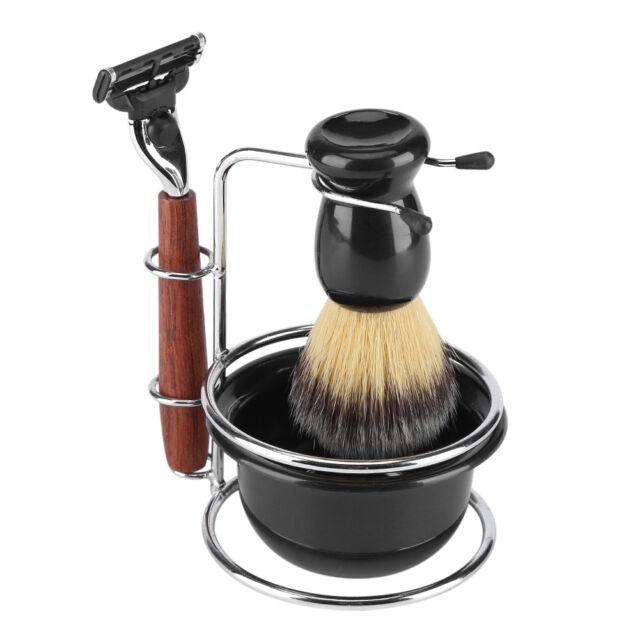 4pcs Shaving Kit Manual Razor Stainess Steel Stand Holder Brush Bowl Set