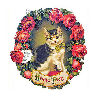 Cat & Red Roses Home Pet Crazy Quilt Block Multi Sizes FrEE ShiPPinG WoRld WiDE
