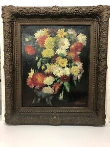 Antique-19th-Century-Oil-Painting-Listed-Emil-Bruno-Austrian-Still-Life-Flowers