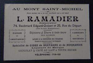 Carte De Visite MONT SAINT MICHEL RAMADIER Cidre