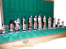 """Egypt Ã""""gypten Schachfiguren Polyresin Schachspiel Schachbrett Chess Holz 65X65cm"""