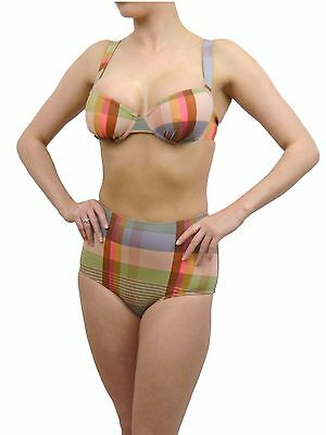 VINTAGE RETRO HIGH WAISTED BIKINI SET BRIEF /& TOP URBAN OUTFITTERS ABSTRACT MULT