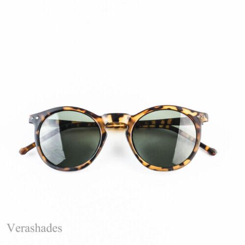 Retro Horned Rim Keyhole Round Horn Rimmed Vintage Black Sunglasses Tortoise