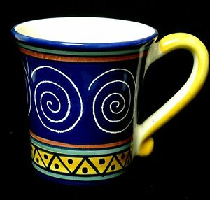 Pier-1-Italian-Swirl-Coffee-Mug-Blue-Handpainted-Pottery-NEW-3-Avail-Gift-Idea