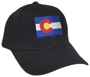 Colorado CO State Flag Curved Bill Adjustable Baseball Cap Caps Hat Hats Black