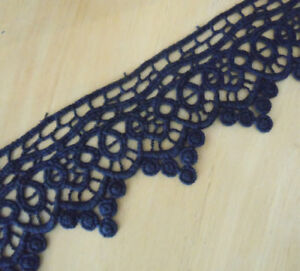 "5 Yards 1/"" Wide Vintage Cotton Crochet Trims Lace Navy Dark Blue zhm22"