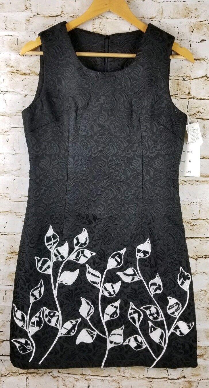 Paparazzi damen Größe M schwarz Sleeveless Dress Brocade Embroiderot Lined Office