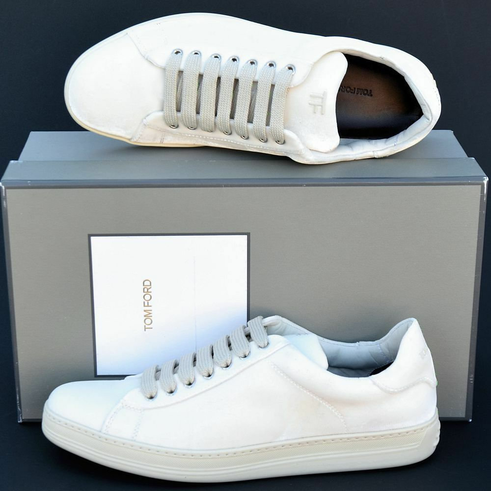 Tom Ford New sz 10 Authentic Authentic 10 Designer Uomo Low Top Scarpe da Ginnastica Scarpe off white 51a89a