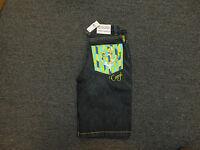 Coogi Men's Black Denim Jean Shorts Teal Yellow Head Design $135 Retail