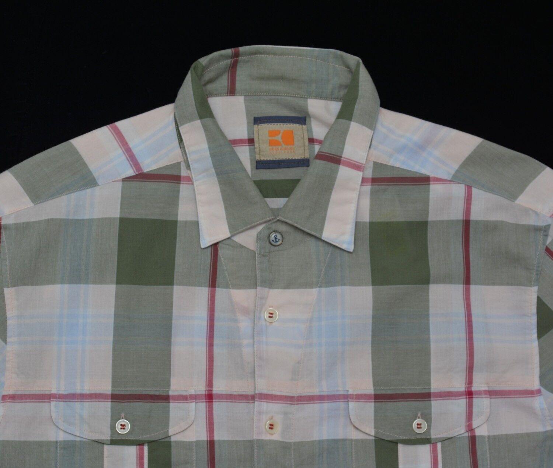Men's HUGO BOSS orange White Plaid Short Sleeve Shirt XL (Extra Large) NWoT NEW