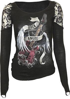 SPIRAL DIRECT ROCK ANGEL LS Finger Loop Shoulder Lace Viscose,Gothic/Top/Tee