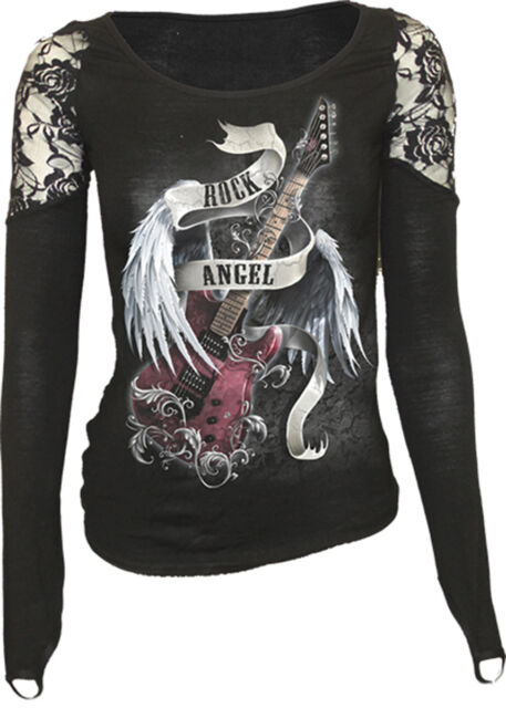 SPIRAL DIRECT ROCK ANGEL LS Finger Loop Shoulder Lace Viscose,Gothic/Top/Tee