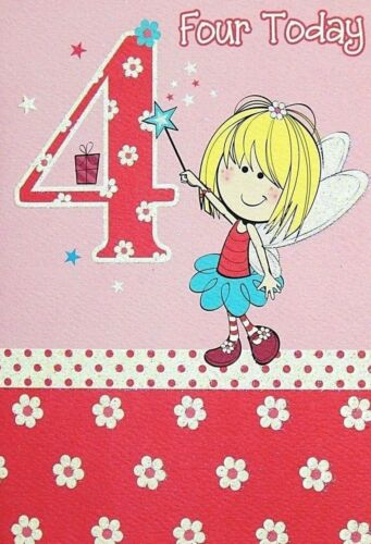 Âge 4 Carte d'anniversaire, les filles 4th CARTE D'ANNIVERSAIRE ENFANT Carte d'anniversaire âge quatre aujourd'hui