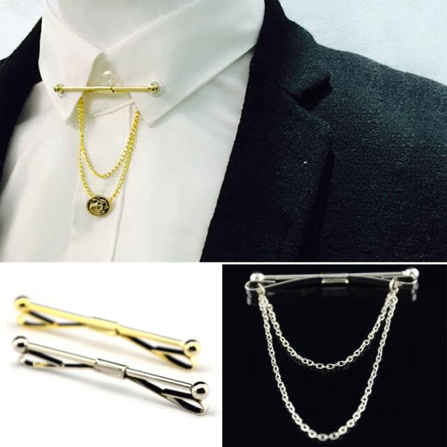 New Mens Silver Gold Necktie Tie Clip Bar Clasp Cravat Pin Skinny Collar Brooch