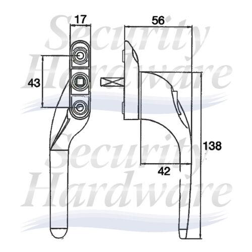 White Cranked Espag UPVC Window Handle Spindle Offset Key Locking