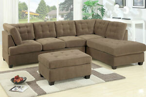New Sectional Sofa 3pc Set Truffle Waffle Suede Tufted Seat Backrest Sofa Couch
