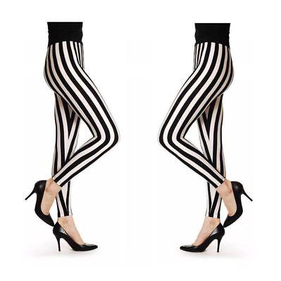 Halloween Women Black & White Stripes Print Stretch Legging Fancy Dress Costume Neueste Technik