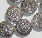 TYROL ANNO DOMINI 1809 Set 11 vintage new silver tone buttons 24mm 15/16""