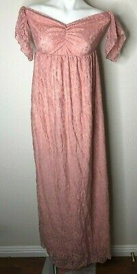 Maternity Photography Props Floral Lace Fancy Pregnancy Gown Pink Carnation M Ebay