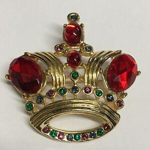 Vintage-Crown-Pin-Faceted-Red-Stones-Rhinestones-Brooch