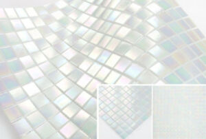 Glasmosaik Iridium Optik Weiss Duschwand Perlmutt Effekt Bad Fliesen