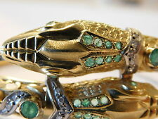 LADIES HEAVY SOLID 18K GOLD DIAMOND snake HEAD DIAMONDS EMARALDS BRACELET