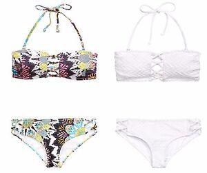 Nouveau-h-amp-m-Bikini-Set-Bandeau-Amovible-Dos-nu-colore-fleurs-blanc-T-34-36-38-40