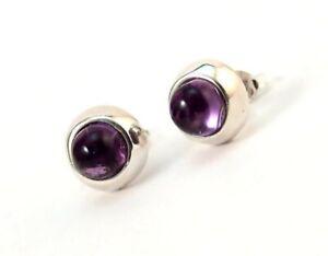 Sterling Silver Genuine Amethyst Stud Earrings Bezel Set