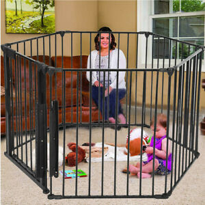 Baby-Pet-Dog-Extra-Wide-Safety-Metal-Gate-Playpen-Indoor-Outdoor-Child-Fence