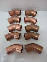 Lot Of 10 Copper Pressure Fittings - 1 1/4 Elbows 45 Degrees C X C