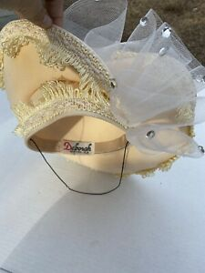 Vtg Deborah New York Women Ivor Hat W/ Rhinestones Beading Elegant Church Derby