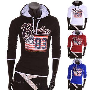 Herren-Pullover-Pulli-Kapuzen-Kapuzen-Jacke-USA-Sweatshirt-Hoodie-Sweat-Neu