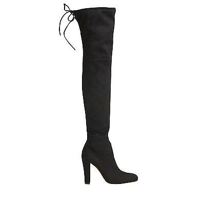 NEW Lipstik Skarlett Black Microsuede Over the Knee Boot